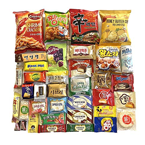 Deluxe Korean Snacks, including Ramen, Gummy, and Drink Box 36 Count Individual Wrapped Essentials Sample Packs of Candy, Snack, Chips, Cookies, Treats for Kids, Children, College Students, Adult and Senior, K-pop lovers