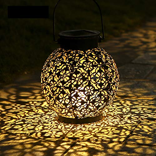 1 Pack Solar Lanterns Outdoor Hanging Solar Lights Decorative Garden Lights Metal Waterproof Table Lamp for Patio Porch Backyard Pathway