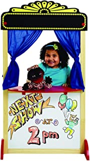 Excellerations Free-Standing Dramatic Play Puppet Theater with Dry Erase Panel and Curtains, Educational Toy, Pretend Play...