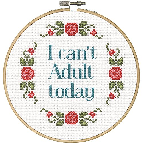DIMENSIONS 'I Can't Adult Today' Counted Cross Stitch Kit for Beginners, 6''