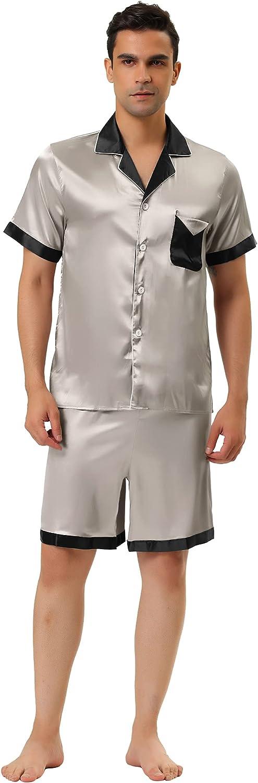 Lars Amadeus Men's Satin Pajamas Set Short Sleeve Contrast Color Button Down Nightwear Sleep Sets Pjs