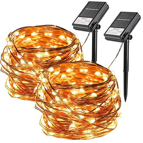 Koopower 2 Stk 100er LED Solar Lichterkette,10 Meter Solar und Batteriebetriebene Kupfer Wasserdichte Lichterketten, Innen und Außen Lichterkette für Garten Weihnachten Hochzeit Party,Warmweiß