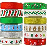 JACK CHLOE 12 Rolls Christmas Ribbon, 72Yards 3/8'' Grosgrain Satin Ribbons for Crafts Decoration Holiday Box Gift Wrapping, Prefect Christmas Ribbons for Crafts and Gifts
