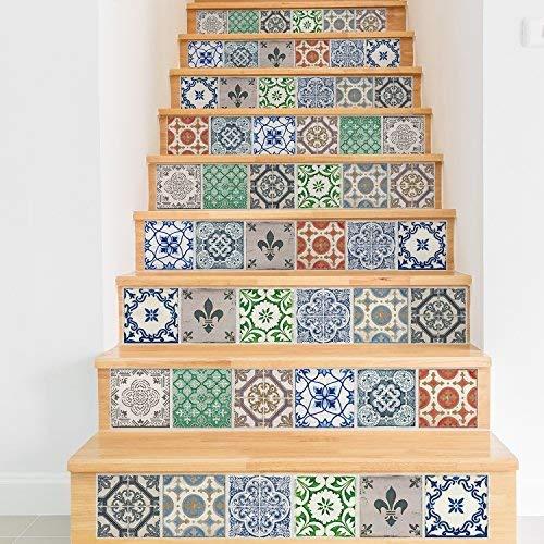 WALPLUS Vintage Porseleinen Tegels Mix Muurstickers 24 stuks, Multi kleuren, 15 x 15 x 0,02 cm