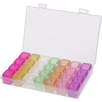 Multicolor BESTOMZ Caja de Almacenamiento con 28 Compartimentos de Pl/ástico para Guardar Joyas Cuentas Bolillos Bobinas