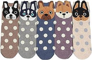 Divertidos calcetines de mujer estampados con lindos perros, gatos, osos, calcetines de algodón con estampado animal para damas EU 35-41 5/6 pares