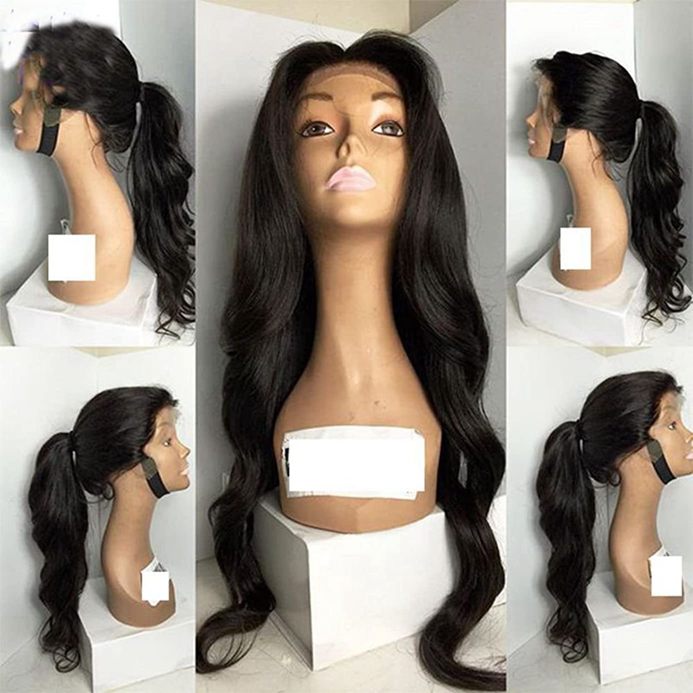Free Part Body Wave Long Black Hair Color 26Inch Hair Synthetic Glueless Lace Wig for Woman (18in, black)