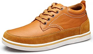 ailishabroy Men's 6cm high-rise leather casual shoes fashion lace-up shoes