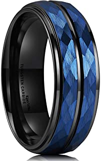 King Will Hammer 8mm Blue Hammered Tungsten Carbide Ring Black Two Tone Wedding Band Groove Step Edge
