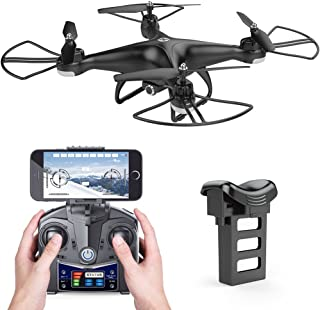 Holy Stone HS110D FPV RC Drone with HD Camera 120° Wide-Angle 720P Live Video WiFi Quadcopter with Altitude Hold Headless Mode 3D Flips RTF with 4G TF Card, Color Black