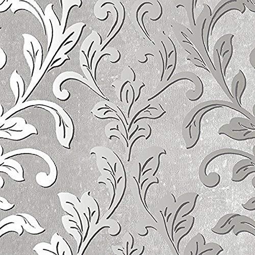 Norwall NWTX34843 Rockford Vinyl DamaskTextured Wallpaper, Gray, Black, Grey