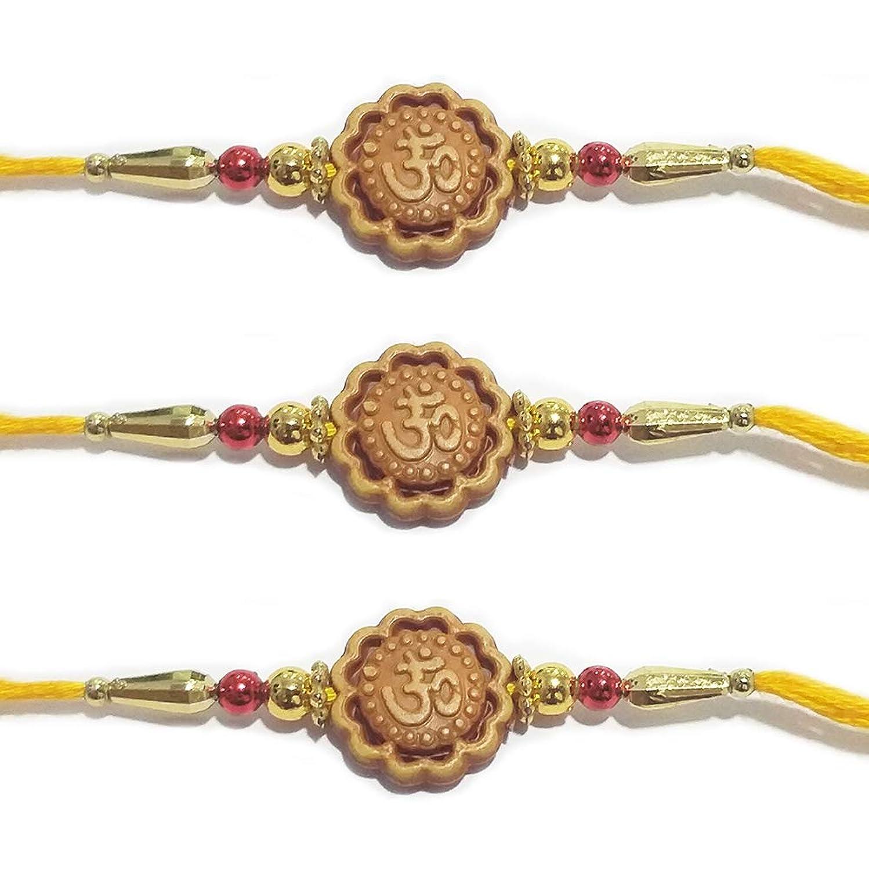 Set of 3 Rakhi for Brothers OM Design Rakhi with Golden Color Beads Design Rakhi Bracelet Multi Design and Assorted Color
