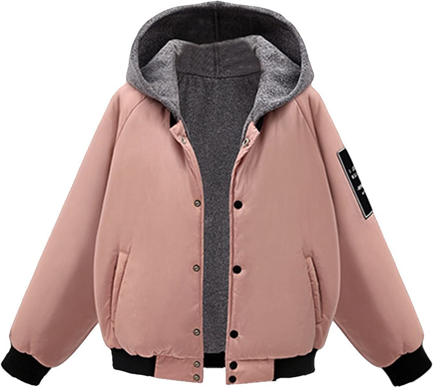 EVEDESIGN Women's Pressed Button Hooded Coats Short Baseball Outwear Coat Pockets