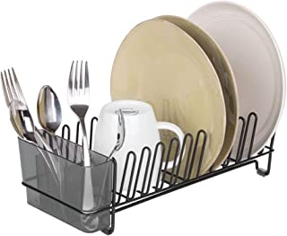 mDesign Compact Modern Kitchen Countertop, Sink Dish Drying Rack, Removable Cutlery Tray - Drain and Dry Wine Glasses, Bowls and Dishes - Metal Wire Drainer in Matte Black with Smoke Gray Caddy