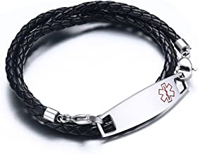 Free Engraving-Stainless Steel Medic Tag with Black Braided Leather Triple Wrap Medical Alert Bracelets