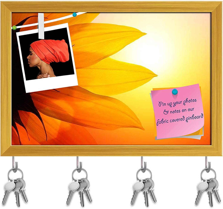Artzfolio Sunflower Over Sunset Sky Key Holder Hooks   Notice Pin Board   golden Frame 8.5 X 6Inch