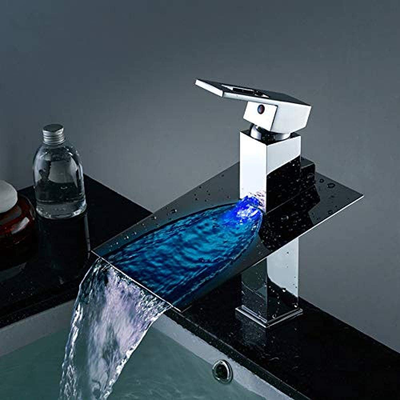 Wasserhahn-geführter Badezimmer-Wannen-Hahn Wasserbetriebener geführter Wasserfall-Hahn 3 Farben gendert durch Wassertemperatur-Bassin-Wannen-Mischbatterie