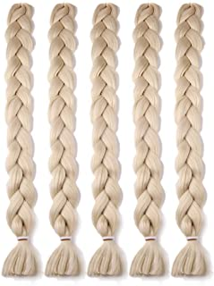 MSBELLE 5Pcs 82Inch Synthetic Braiding Hair Extensions Ombre Kanekalon Fiber Crochet Twist Braids Hair Jumbo Braids Hair Extension for Women 165g/Pcs(613)