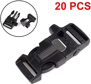 eoocvt 20pcs Side Release Whistle Buckle Flint Fire Starter Scaper for Paracord Bracelet
