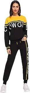 Milumia Women's 2pcs Sport Workout Yoga Active Long Sleeve Letter Sweatshirt Top and Pants Tracksuit Sweatsuit Outfit