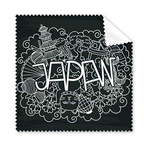 Japan Cultuur Leuke Zwarte Witte Tempel Lucky Cat Fan Sakura Pine Lantaarn Boogschutter Chopsticks Handgedecoreerde Illustratie Patroon Glazen Doek Schoonmaken Doek Telefoon Scherm Cleaner 5 stks