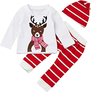 0c108e8f2ba75 Sunenjoy Bébé garçon fille 3 PCs Set costumes de Noël cerfs imprimés Tops +  rayé pantalons