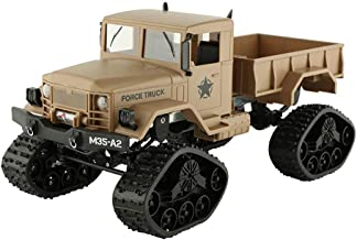 Vovomay CIS-FY2001T, Military Rock Racer - RC Military Truck Army 1: 16 4WD Tracked Wheels Crawler Off-Road Car RTR Toy New (Yellow), Tan