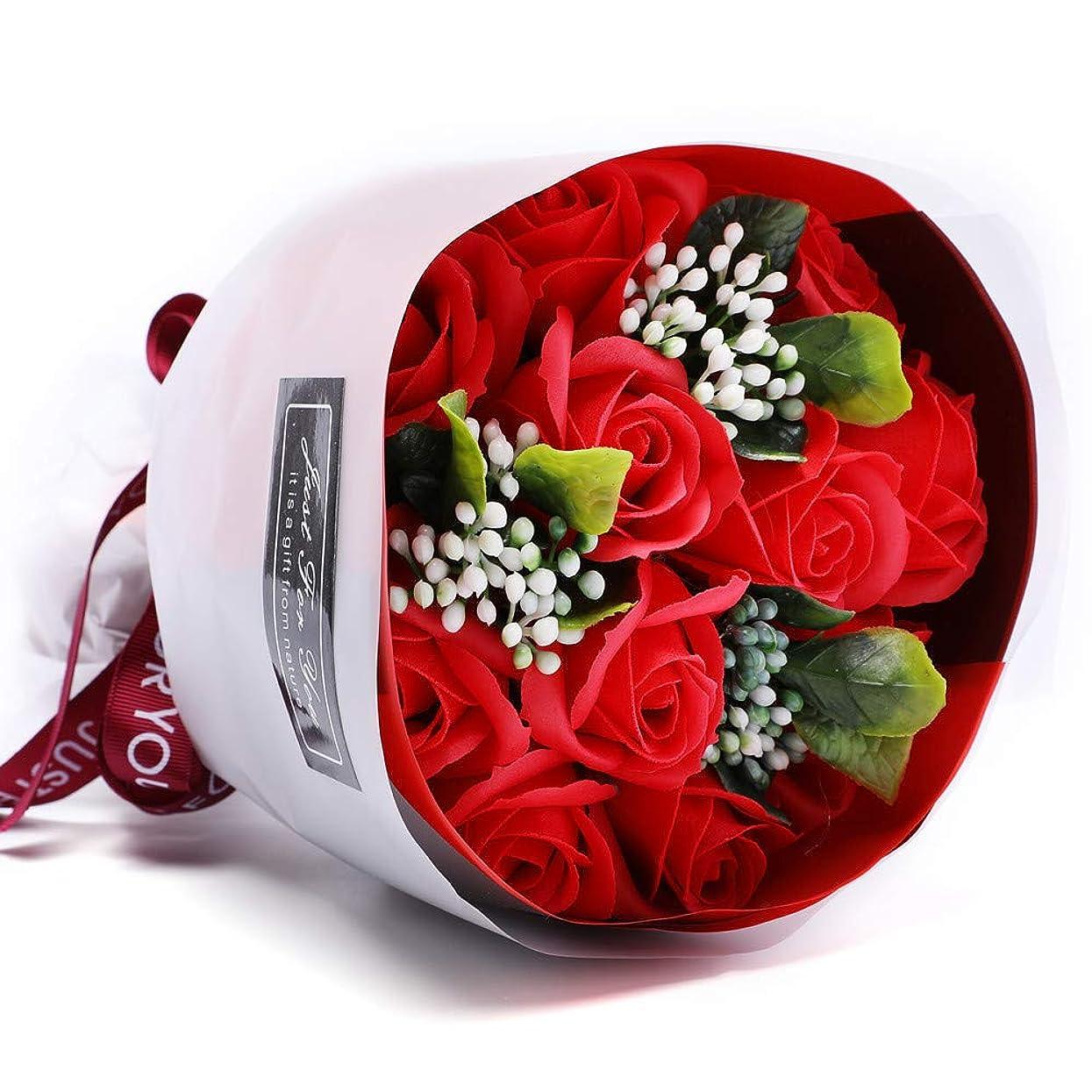 最後に無駄にいくつかの枯れない花 ソープフラワー 花束 造花 バラ 石鹸花 ギフト フレグランス シャボンフラワー 贈り物 お見舞い 母の日 お祝い 入学 卒業 結婚祝い 記念日 誕生日 プレゼント 女性(花11輪)(レッド)