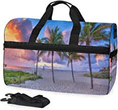 Womens Mens Duffle Bag Coconut Tree At Pompano Beach Large Gym Sport Workout Bags with Shoes Compartment