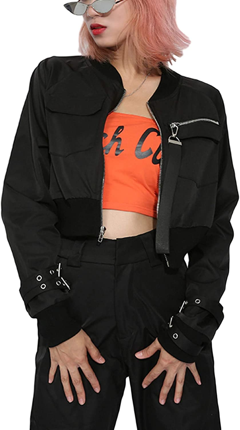 Qiaomai Women's Sales for sale Cool Windproof Full Solid Zip Biker Cropped Bomb Dealing full price reduction
