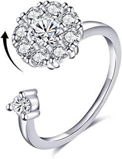 Bling Toman Fidget Ring Women's Band Ring Cubic Zirconia Spinner Ring Gift for Valentine's Day, Girl's Rotatable Ring Relieving Anxiety and Stress