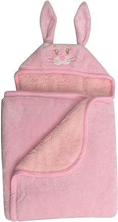 Baby Mink Premium Soft Sherpa Character Hooded Towel Blanket, Rabbit, Pink