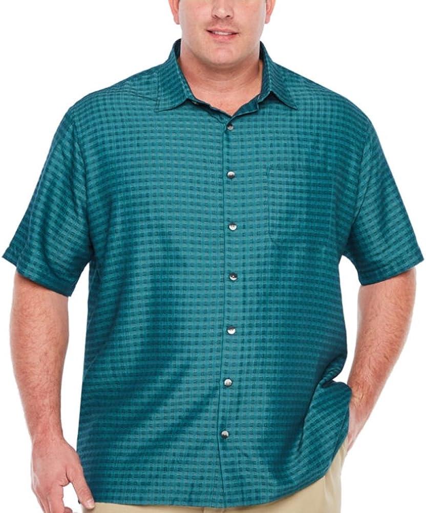 Van Heusen Men's Big & Tall Short Sleeve Rayon Poly Box Grid Button-Down Shirt