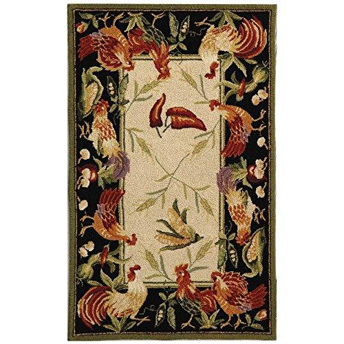 Safavieh Chelsea Collection hk94a Hand-Hooked Elfenbeinfarben und Schwarz Premium Wolle Rund Bereich Teppich Traditionell 2'6