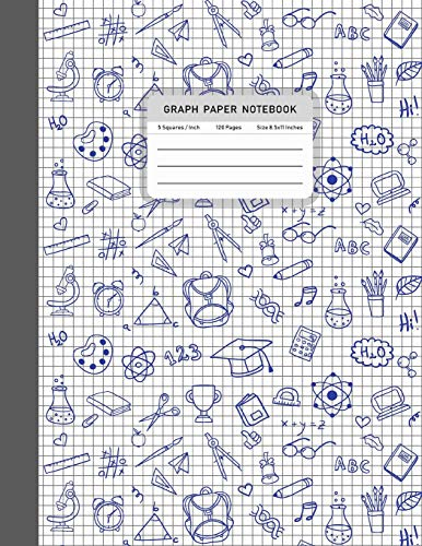 Graph Paper Notebook: Composition Notebook Squared Graphing Paper 5 Squares per Inch Square Grid Student Teacher Education School College Studying Supplies 8.5x11 inches 120 pages: Volume 2