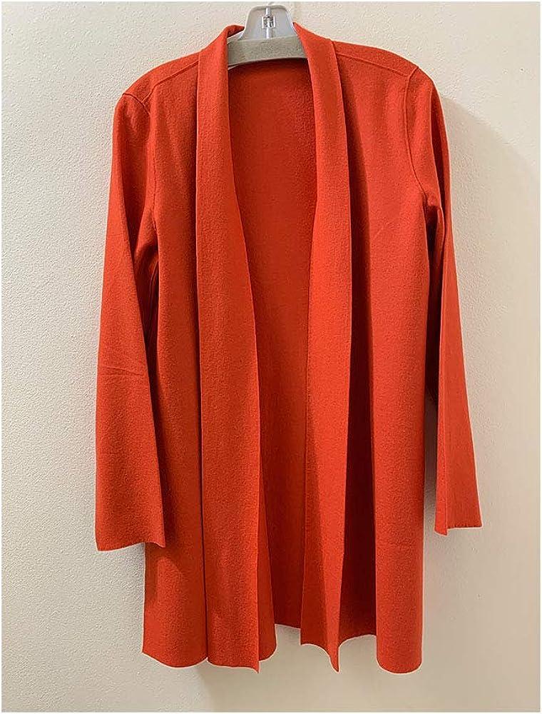 Eileen Fisher Dark Red Lory Boiled Wool Jersey Long Cardigan