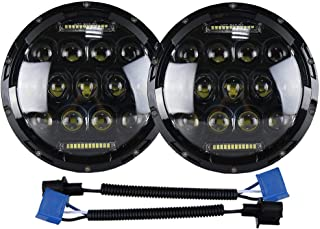 """2 Pcs 75W 7"""" Round LED Headlight Replacement Projector with DRL Hi/Lo Beam Motorcycle Headlamp Fit for Harley Davidson Jeep Wrangler JK LJ CJ"""