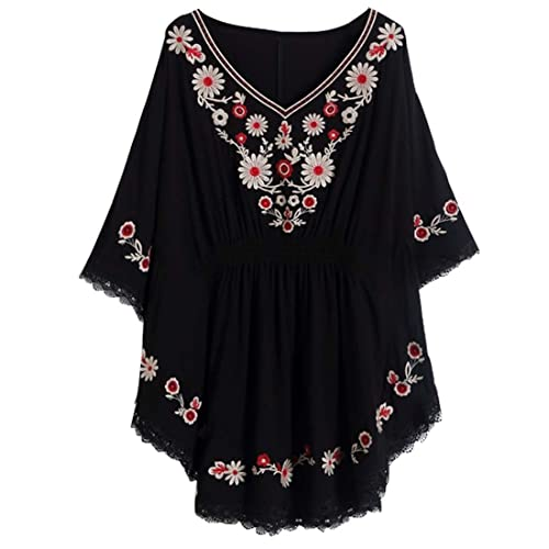 5c5e887b8a3 Kafeimali Women s Batwing Dressy Tunic Peasant Tops Mexican Embroidery  Blouse