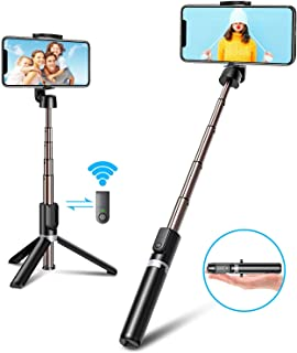 Bovon Palo Selfie Tripode 3 en 1 Mini Palo Selfie Movil con Bluetooth y Control Remoto Compuesto Aluminio y Extensible para iPhone 11 Pro Max/11/XS Max/XR/X/8/8 Plus/7 Galaxy S20/S10/S9 Huawei