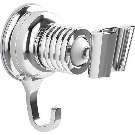 2 piezas Soporte de ducha,Mano Soportes Ducha con 2 Ganchos no es necesario perforar agujeros Autoadhesivo resistente al agua adhesi/ón fuerte