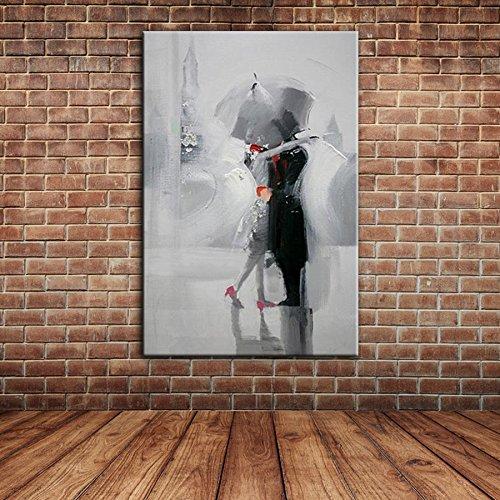 IPLST amanti bacio romantico nel giorno di pioggia, pittura moderna della tela a olio di arte per la camera da letto, Soggiorno, Dinning Room Decoration -24x36inch(Nessuna cornice, senza barella)