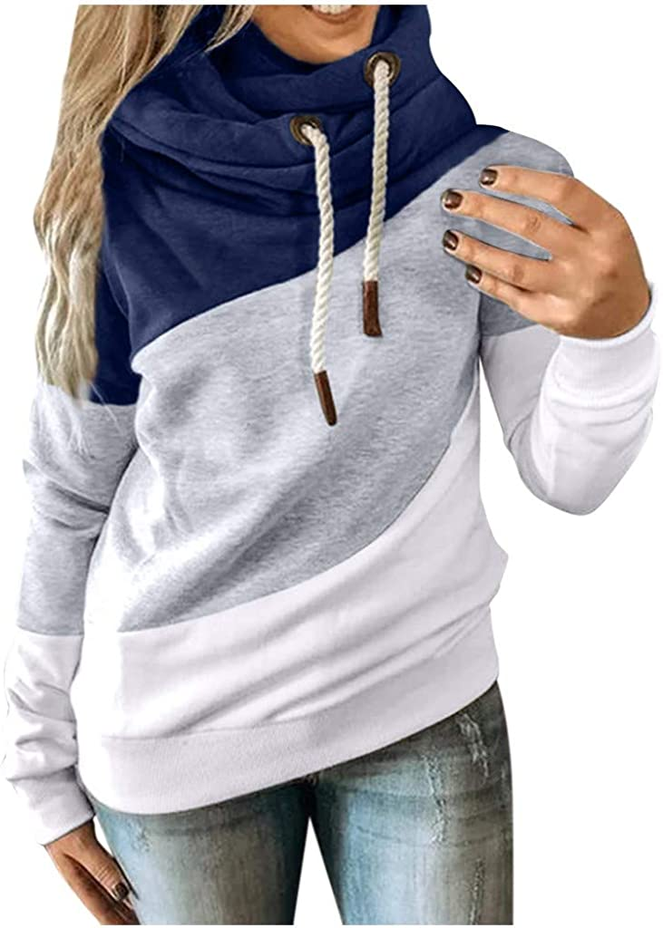 Long Sleeve Shirts for Women,Women's Tie Dye Hooded Cowl Neck Long Sleeve Color Block Pullover Hoodie Top with Pockets
