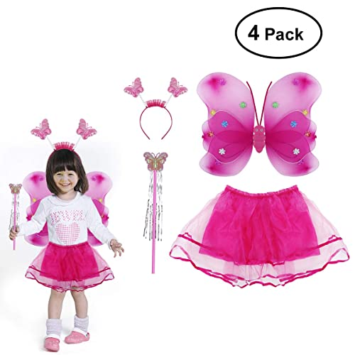 79a9a43fb8dd LUOEM Princess Fairy Costume Butterfly Costumes Outfit Set with  Wings,Tutu,Wand and Headband