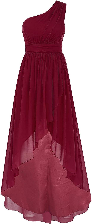 renvena Womens Elegant One Shoulder Hi-Lo Hem Bridesmaid Maxi Dress Lady Wedding Party Formal Evening Gown