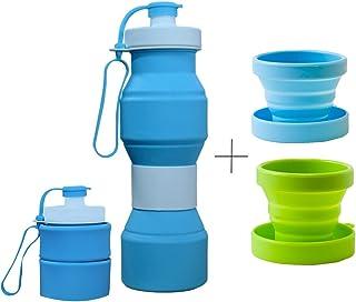 CHRISLZ Botella de agua plegable BPA Botella de silicona a prueba de fugas botella de agua deportiva port¨¢til