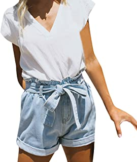Womens Elasticated Denim Shorts Pleated Ruffle Distressed Ripped Pants with Lace up High Waist Belt
