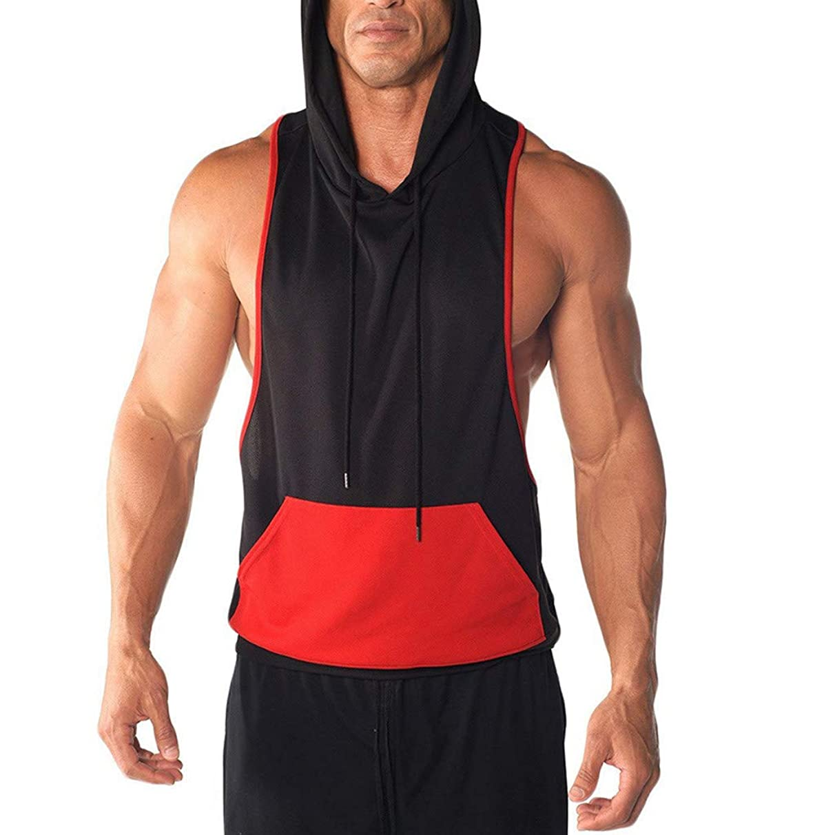 Mens Gym Hoodie Muscle Fitness Vest,MmNote Workout Athletic Pocket Design Sleeveless Loose Sports No Zip Tank Top