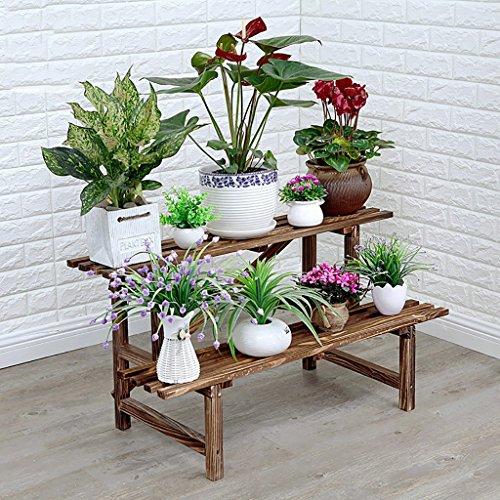 Jardinière en bois massif Multicouches Intérieur et Extérieur Porte-pots de fleurs Antiseptique Deux tailles Couleur carbonisée (taille : 96 * 45 * 50cm)