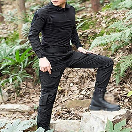 Juego de chaqueta y pantalones comando, diseño de camuflaje y estilo uniforme militar, color negro, tamaño XX-Large