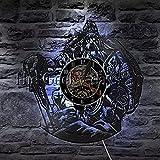 BABYCOW 1 Pezzo Mitologia norrena Odino Art Wall Watch Decorativo Appeso Viking Warrior Sword And Shield Orologio da Parete in Vinile